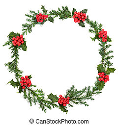 Christmas Holly and Juniper Wreath