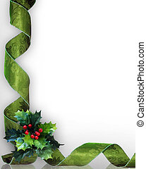 Christmas Holly and ribbons border - Christmas design with...