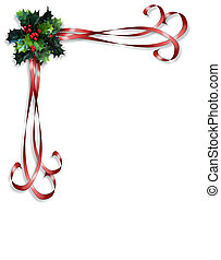Image and illustration composition Christmas design with holly leaves and ribbons for card, invitation or background.