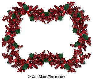Christmas Holly Berries Border