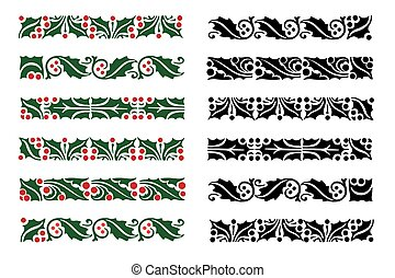 Christmas holly berries border pattern set isolated