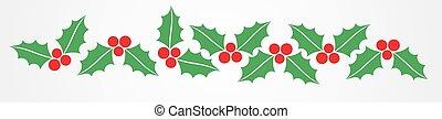 Christmas holly berries border pattern.