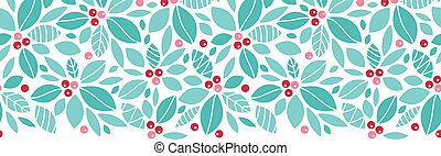 Christmas holly berries horizontal seamless pattern...