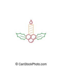 Christmas holly berries with candle icon, Merry Christmas 2016
