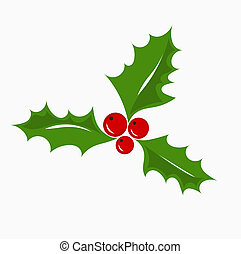 Christmas symbol holly berry, vector illustration.