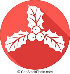 christmas holly berry flat icon