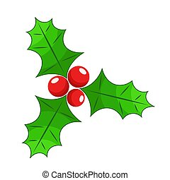 Christmas holly berry flat icon in cartoon style onwhite, stock vector illustration
