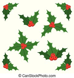Christmas holly berry icon collection.