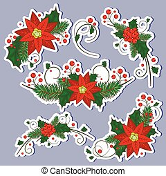 Christmas holly berry icon collection. Vector