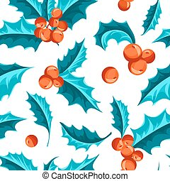 Christmas Holly Berry seamless pattern