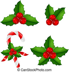 Christmas Holly Berry Set With Gradient Mesh, Vector Illustration