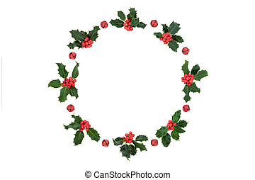 Christmas Holly Berry Wreath with Red Bells