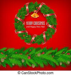 Christmas holly berry wreath with red ribbon and bell. Vector.
