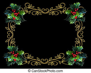 Christmas Holly Border bl - Image and illustration...