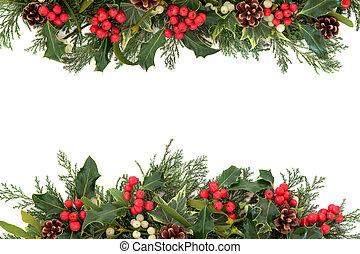 Christmas Holly Border - Christmas floral border with holly...