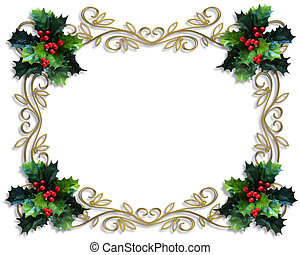 Christmas Holly Border - Image and illustration composition...