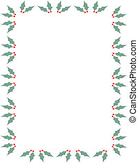 Christmas holly border frame