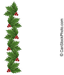 Illustration composition Christmas design with holly leaves for background, border or frame with copy space.