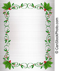 Christmas Holly Border Ornamental Design Element For Greeting Card