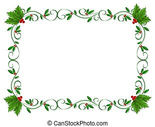 Christmas design element for greeting card border, Holiday invitation frame or ornamental border with decorative holly with copy space.