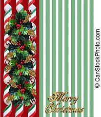 Christmas Holly Border over green stripes