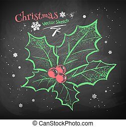 Christmas holly. - Color chalk vector sketch of Christmas ...