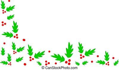 Christmas Holly Corner Border - A corner border of holly.