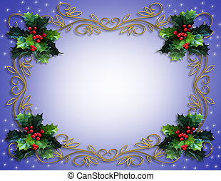 Christmas Holly Frame - Image and illustration composition...