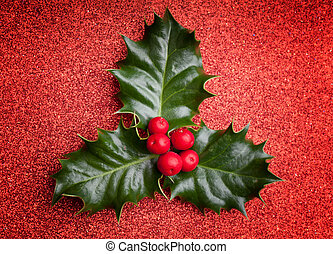 Christmas holly leaf with red berries on red holiday background