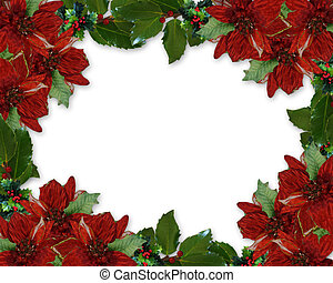Christmas Holly Poinsettia border