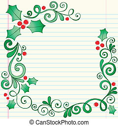 Christmas Holly Leaves Sketchy Notebook Doodles Border with Berries and Swirls- Vector Illustration Design Elements on Lined Sketchbook Paper Background