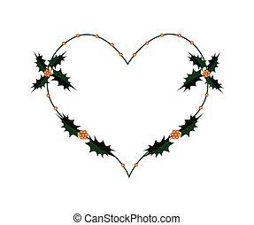 Christmas Holly Twig in A Heart Shape Wreath
