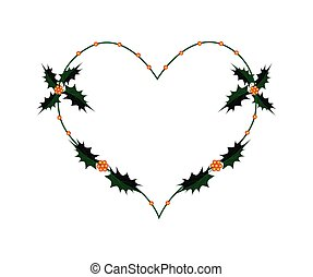 Christmas Holly Twig in A Heart Shape Wreath