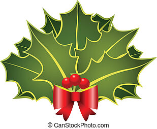 christmas holly with bow