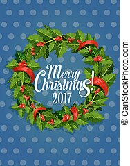 Christmas holly wreath with red berry holiday card