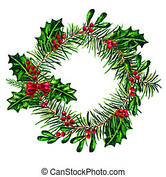 Christmas Holly wreath with red bow isolated watercolor