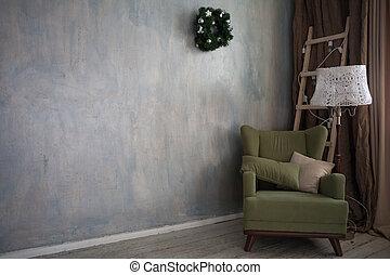 Christmas home decor green armchair vintage