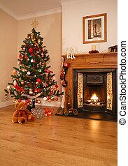 Christmas home decor - Living room with open fire, christmas...