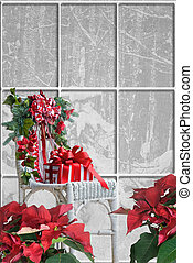 Christmas Home - Holiday gift on a wicker chair with ...