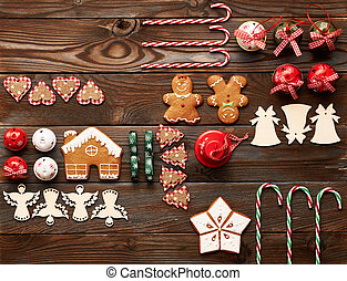 Christmas homemade decoration flat lay - Christmas homemade...