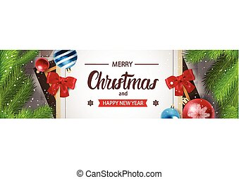 Christmas Horizontal Banner Happy New Year Decoration Design...
