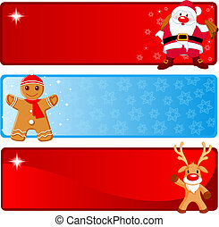 Christmas horizontal Banners - Vector Christmas Banners with...