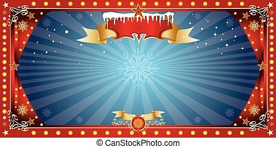 christmas horizontal blue card