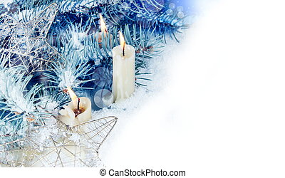 Christmas Horizontal Border with Burning Candles in Snow