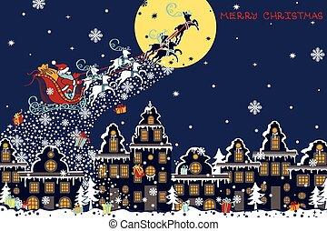 Christmas horizontal card.Santa Claus coming to City -...