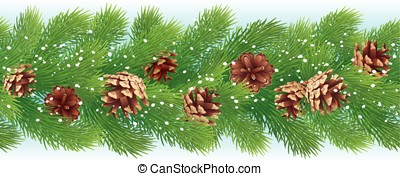 Christmas horizontal seamless background with pine branches