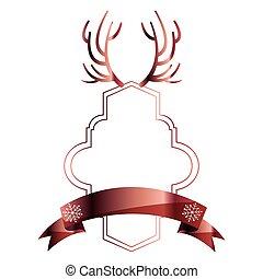 christmas horns label ribbon decoration