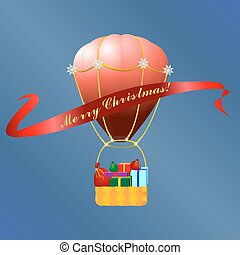 Christmas hot air baloon