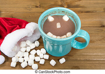 Christmas hot cocoa with marshmallow happy face