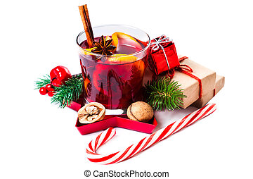 Christmas Hot mulled wine for winter with spices isolated on...